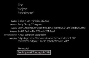 "The Mojave experiment, the ""new"" Microsoft Operating System"